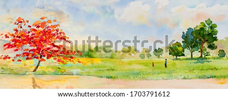 Watercolor landscape painting panorama colorful of natural beauty red flowers tree and mountain forest with sky cloud  background in nature spring season. Painted impressionist, illustration image