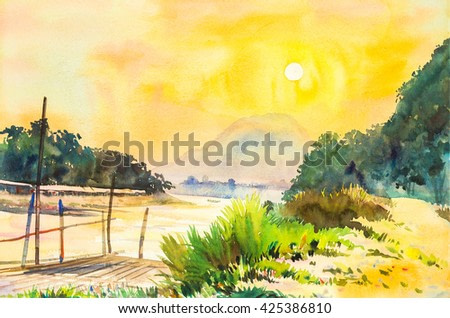 watercolor lanscape painting yellow, orange color of sunset in sky and cloud background original painting.