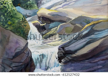 Watercolor landscape original painting colorful of waterfall,rock cliff,in forest nature summer season and emotion green tree background. Hand painted Impressionist, abstract image,illustration