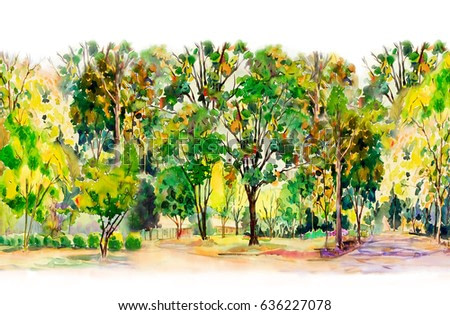 Watercolor painting colorful of  flowers garden trees and grass with Live in the midst of nature autumn and on white background. Painted Impressionist, illustration.