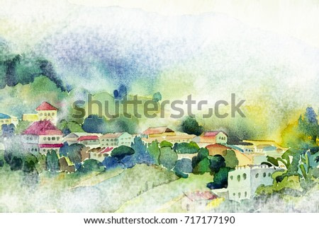 Abstract watercolor painting landscape on paper colorful of village view on hill mountain in the beauty winter season,wild life,fog in morning sky background. Painted Impressionist illustration image.
