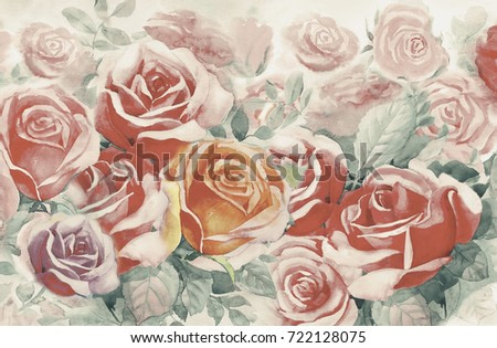 Illustration painted spring flowers colorful bunch of roses in the garden and emotion in realistic vintage with abstract blue background, Watercolor landscape original painting, For greeting cards.