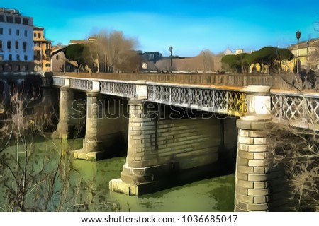 A view of the Ponte Palatino, also known as Ponte Inglese (English Bridge) on Tiber river in Rome, Italy (photo turned into the realistic style painting with a photo to painting application)