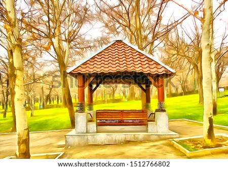 Small gazebo at park (photo turned into the painting inspired by aniline watercolor technique with a photo to painting application)