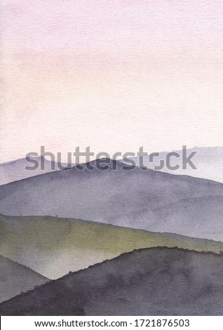 Mountain watercolor painting. Sunrise or sunset in landscape. Good for wall print art and background.