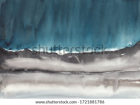 Stormy watercolor abstract art on rough paper. Reminds black sand and ocean from the beaches of Iceland. Suitable for background, package, fabric or wall gallery.