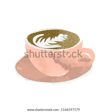 watercolor vector coffee cup. flat white coffee sketch