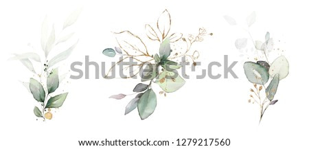 watercolor arrangements with leaves, herbs.  herbal illustration. Botanic composition for wedding, greeting card.