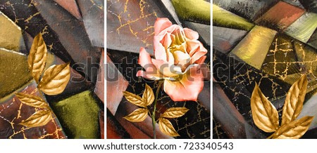 Hand drawn oil painting - triptych with flower rose. Abstract art background on canvas. texture. In Interior Modern, Contemporary art. gold crack
