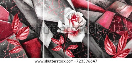 Hand drawn oil painting - triptych with flower rose. Abstract art background on canvas. texture. In Interior Modern, Contemporary art. red