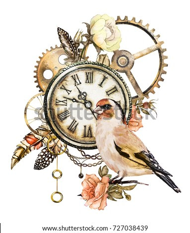 steam punk watercolor  Illustration  roses, clock, clockwork, feathers, jewelry, chain and bird, Flowers. tattoo style.  isolated on white background. Vintage print.