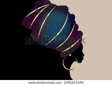 portrait beautiful African woman in traditional turban, Kente head wrap African, Traditional dashiki printing, black women vector silhouette isolated with traditional gold earrings, template brochure