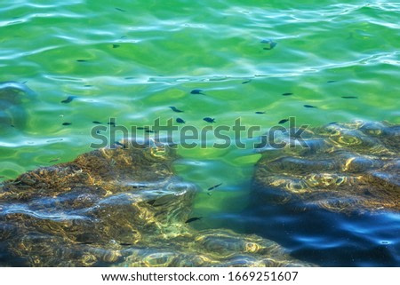 View of the stones in the Mediterranean sea in sunny day.
