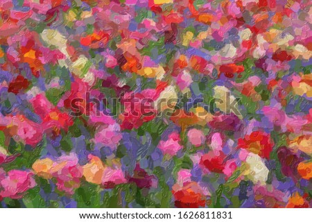 Colorful illustration background with different tulips in spring garden.Beautiful floral wallpaper design edited with oil paint filter