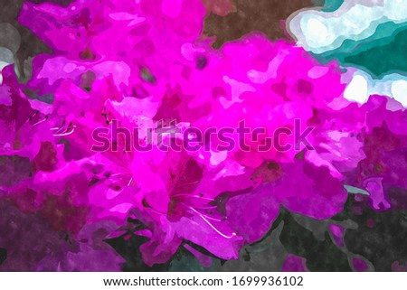 Purple watercolor rhododendron flower painting illustration.Exotic flowers blooming in botanical garden in spring season.Beautiful floral wallpaper painted with water color on canvas for design