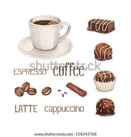 Watercolor illustrations of coffee cup and chocolate sweets