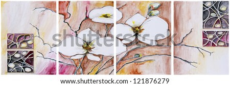 Panel of four paintings - Blooming cherry tree- isolated. Handmade watercolor  painting illustration on a white paper art background
