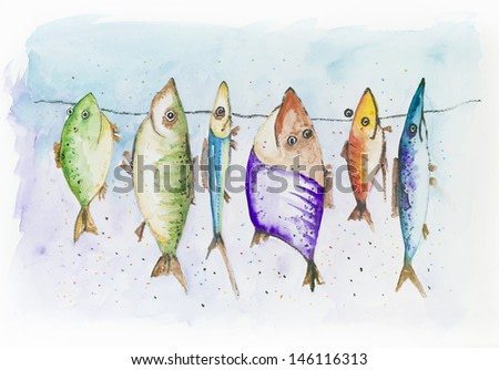 Funny fish - mackerel, sprat  and  scad, swim in the sea. Handmade watercolor painting illustration on a white paper art background