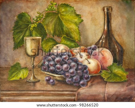 Fruits and bottle. Still life. Watercolor painting.