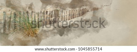 Digital watercolor painting of Panorama landscape of sand dunes system on beach at sunrise