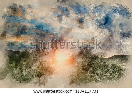 Digital watercolour painting of Sunrise over Three Cliffs Bay Gower Peninsual Wales.