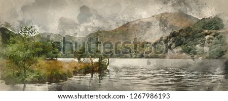 Digital watercolor painting of Panorama landscape stunning sunrise over lake with mountains in background