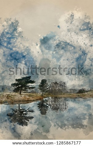 Digital watercolor painting of Beautiful landscape image of moody storm clouds over Kelly Hall Tarn in Lake District during late Autumn Fall afternoon
