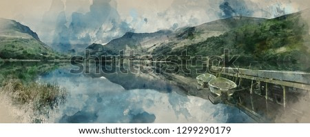 Digital watercolor painting of Panorama landscape rowing boats on lake with jetty against mountain range background