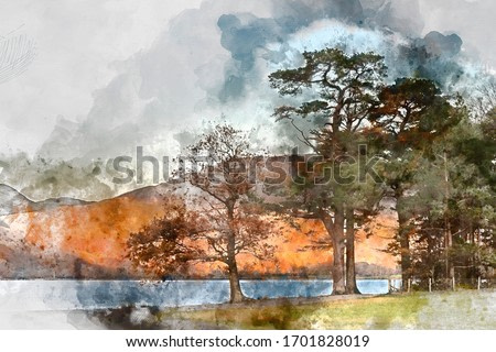 Digital watercolor painting of Stunning epic Autumn Fall landscape Buttermere in Lake District with beautiful early morning sunlight playing across the hills and mountains