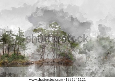 Digital watercolor painting of Beautiful peaceful Autumn Fall landscape of woodland and lake with mist fog during early morning