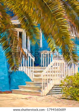 Palm branches, hanging low over driveway, hide part of front entrance to beach house on a sunny day in west central Florida, USA, with digital painting effect