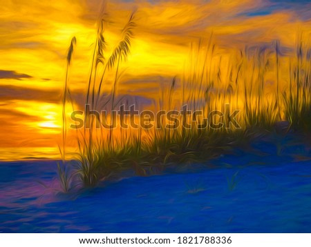 Impressionistic abstract of sun setting over Gulf of Mexico beyond a stand of sea oats (binomial name: Uniola paniculata) on dune in west central Florida, with digital painting effects. 3D rendering.