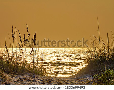Dune view of dazzling reflections on the Gulf of Mexico before sunset, with digital painting effect. 3D rendering.