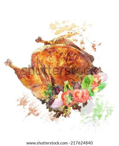 Watercolor Digital Painting Of Roasted Whole Turkey With Salad