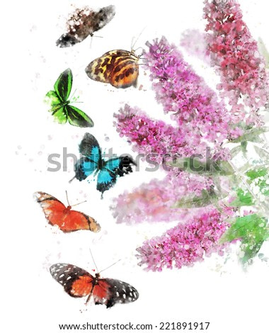 Watercolor Digital Painting Of Buddleja (Butterfly Bush) With Butterflies