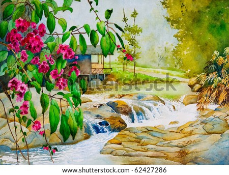 An original watercolor painting inspired by a beautiful spring scene in Thailand.