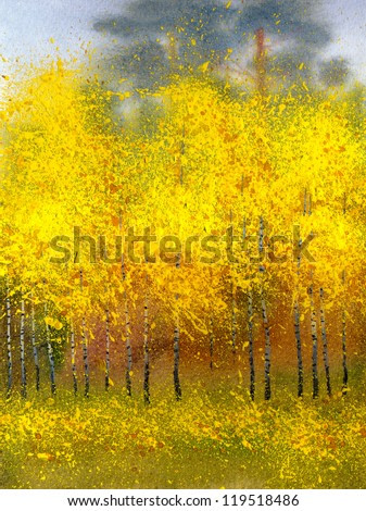 Watercolor landscape. Autumn foliage yellowed bright gold decorated birch forest