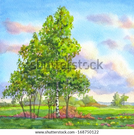 Watercolor landscape. Gentle breeze is waving the trees in the field against the evening sky