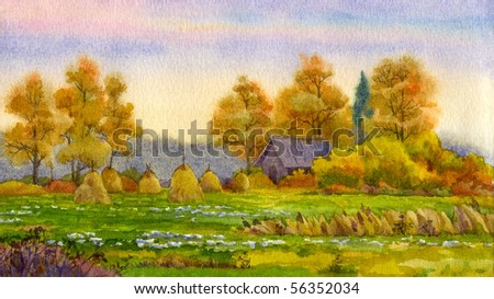 Watercolor landscape. Stack of hay in the autumn meadow near the barn