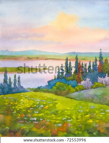 Watercolor landscape. Panoramic view from the hills with a spring flowering trees and meadows on the river in the valley