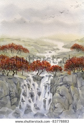 Watercolor landscape. By the autumn the valley past the yellowing trees, flowing mountain stream, which flows down a waterfall in the gorge