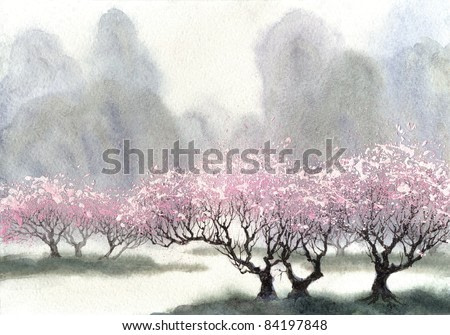 Watercolor landscape. Delicate flowering trees near the river on a misty cool spring day