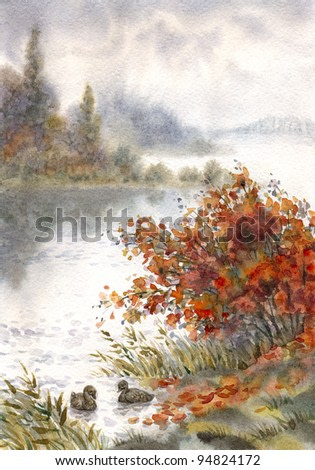 Watercolor landscape. Pictorial sketch of the autumn the lake with a pair of ducks behind a bush on the shore