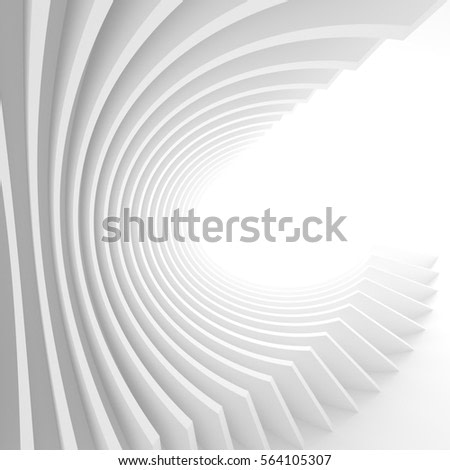 Abstract Architecture Background. White Circular Tunnel Building. 3d Illustration