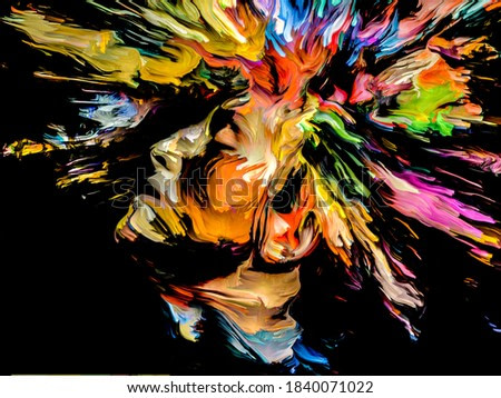 Abstract human head with bursting hairs of paint and color on the subject creativity, imagination and art.