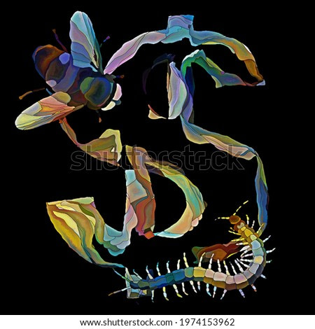 A painting composition of fly and a centipede crawling over segmented dollar sign on subject of subversion and resistance