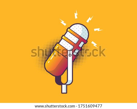Podcast microphone vintage pop art style vector illustration