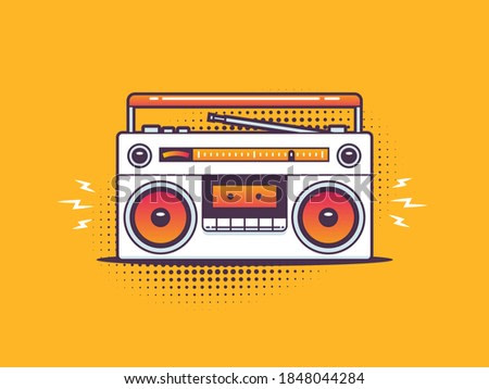 Retro boombox cassette tape player in pop art style vector illustration
