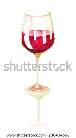 watercolor hand drawn glass of wine. vector