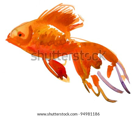 Gold fish. Isolation. watercolor